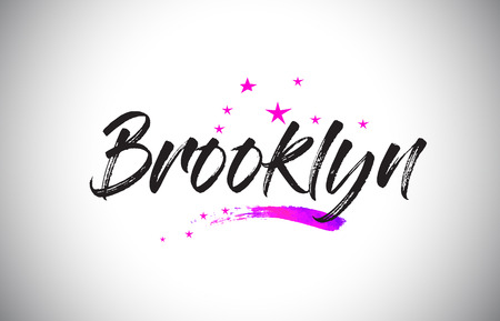 Brooklyn Handwritten Word Font with Vibrant Violet Purple Stars and Confetti Illustration.