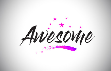 Awesome Handwritten Word Font with Vibrant Violet Purple Stars and Confetti Illustration.