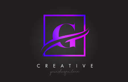 G Purple Violet Letter Icon Logo Design with Square Swoosh Border and Creative Design Vector Illustration. Illusztráció