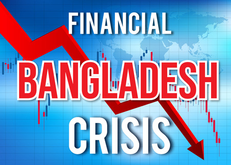 Bangladesh Financial Crisis Economic Collapse Market Crash Global Meltdown Illustration.