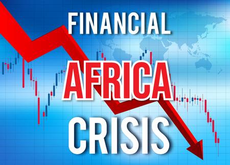 Africa Financial Crisis Economic Collapse Market Crash Global Meltdown Illustration.