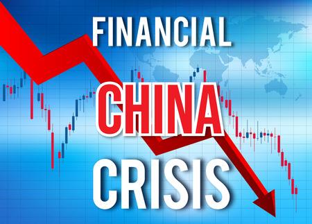 China Financial Crisis Economic Collapse Market Crash Global Meltdown Illustration. Imagens