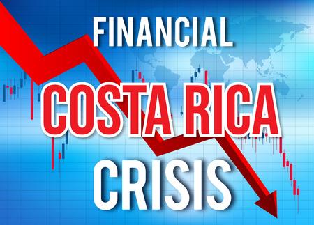 Costa Rica Financial Crisis Economic Collapse Market Crash Global Meltdown Illustration.