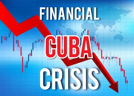 Cuba Financial Crisis Economic Collapse Market Crash Global Meltdown Illustration.