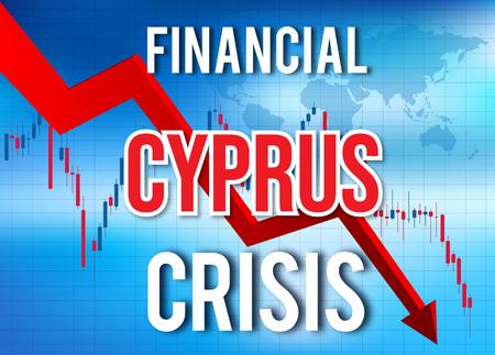 Cyprus Financial Crisis Economic Collapse Market Crash Global Meltdown Illustration. Imagens