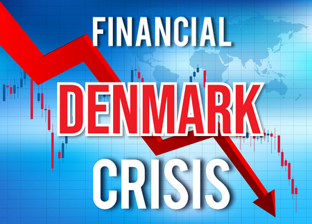 Denmark Financial Crisis Economic Collapse Market Crash Global Meltdown Illustration.