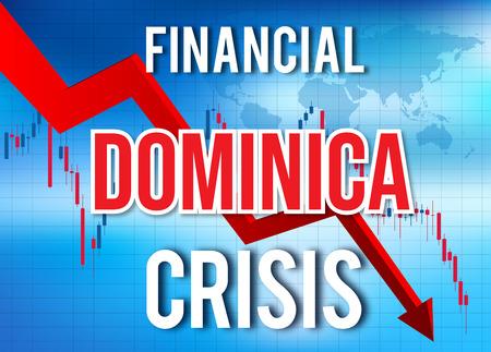 Dominica Financial Crisis Economic Collapse Market Crash Global Meltdown Illustration.