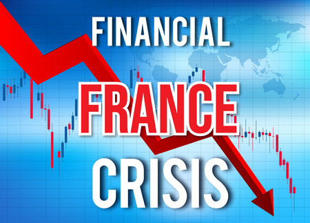 France Financial Crisis Economic Collapse Market Crash Global Meltdown Illustration. Фото со стока