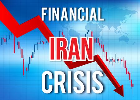 Iran Financial Crisis Economic Collapse Market Crash Global Meltdown Illustration. Imagens