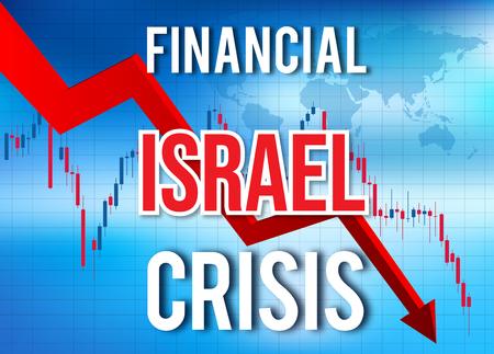 Israel Financial Crisis Economic Collapse Market Crash Global Meltdown Illustration.
