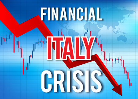 Italy Financial Crisis Economic Collapse Market Crash Global Meltdown Illustration.
