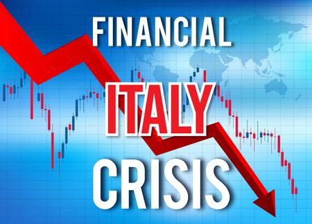 Italy Financial Crisis Economic Collapse Market Crash Global Meltdown Illustration.
