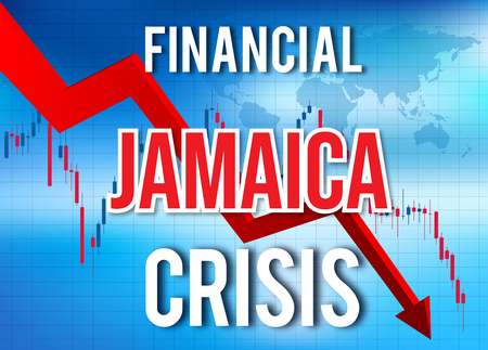 Jamaica Financial Crisis Economic Collapse Market Crash Global Meltdown Illustration.