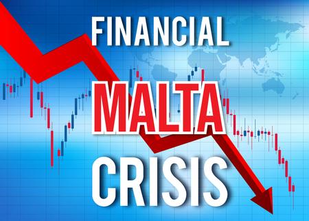 Malta Financial Crisis Economic Collapse Market Crash Global Meltdown Illustration. Imagens