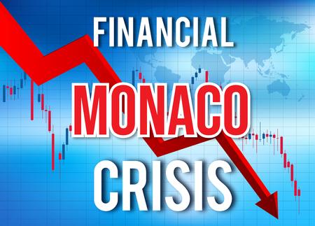 Monaco Financial Crisis Economic Collapse Market Crash Global Meltdown Illustration. Imagens