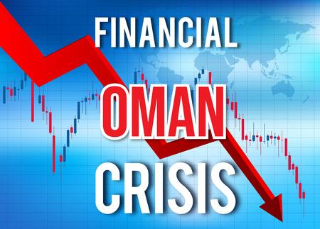 Oman Financial Crisis Economic Collapse Market Crash Global Meltdown Illustration. Imagens