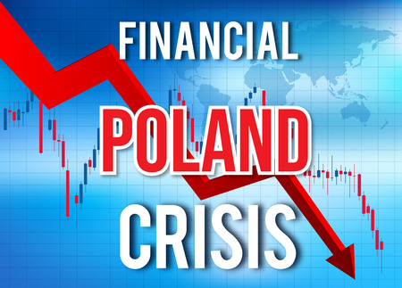 Poland Financial Crisis Economic Collapse Market Crash Global Meltdown Illustration.