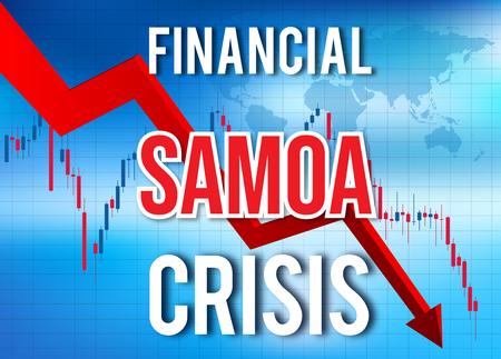 Samoa Financial Crisis Economic Collapse Market Crash Global Meltdown Illustration. Imagens