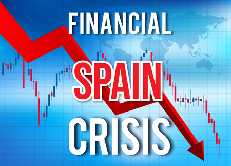 Spain Financial Crisis Economic Collapse Market Crash Global Meltdown Illustration.