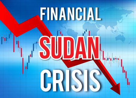 Sudan Financial Crisis Economic Collapse Market Crash Global Meltdown Illustration. Imagens