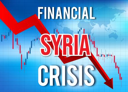 Syria Financial Crisis Economic Collapse Market Crash Global Meltdown Illustration. Imagens