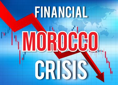 Morocco Financial Crisis Economic Collapse Market Crash Global Meltdown Illustration.