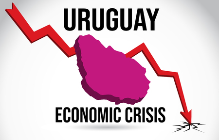 Uruguay Map Financial Crisis Economic Collapse Market Crash Global Meltdown Vector Illustration. Vettoriali