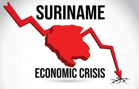 Suriname Map Financial Crisis Economic Collapse Market Crash Global Meltdown Vector Illustration.