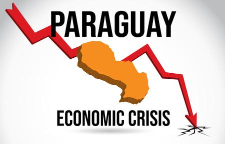 Paraguay Map Financial Crisis Economic Collapse Market Crash Global Meltdown Vector Illustration.