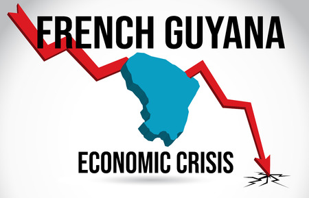 French Guyana Map Financial Crisis Economic Collapse Market Crash Global Meltdown Vector Illustration. Illustration