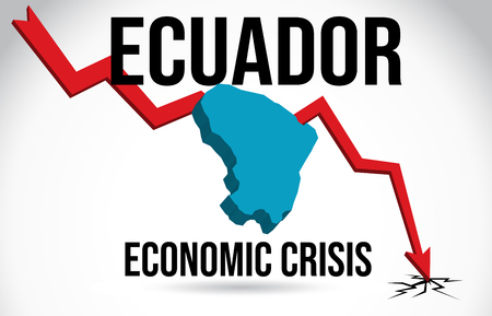 Ecuador Map Financial Crisis Economic Collapse Market Crash Global Meltdown Vector Illustration.