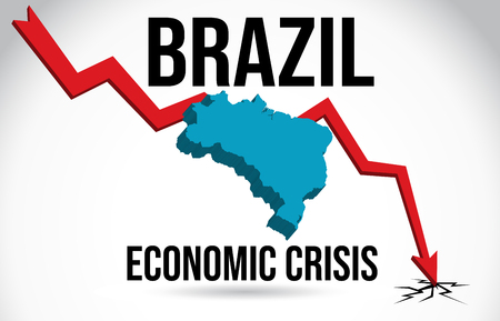 Brazil Map Financial Crisis Economic Collapse Market Crash Global Meltdown Vector Illustration.