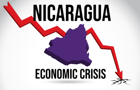 Nicaragua Map Financial Crisis Economic Collapse Market Crash Global Meltdown Vector Illustration.