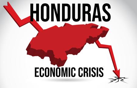 Honduras Map Financial Crisis Economic Collapse Market Crash Global Meltdown Vector Illustration.