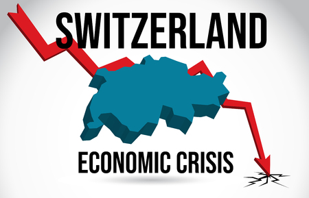 Switzerland Map Financial Crisis Economic Collapse Market Crash Global Meltdown Vector Illustration.
