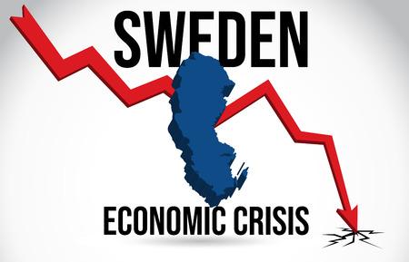 Sweeden Map Financial Crisis Economic Collapse Market Crash Global Meltdown Vector Illustration.