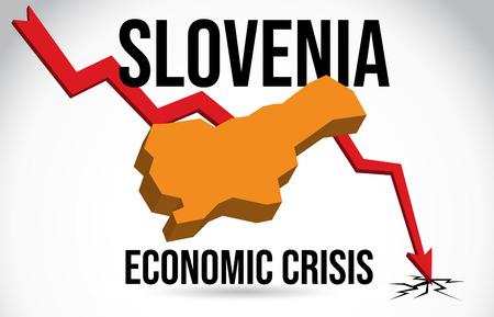 Slovenia Map Financial Crisis Economic Collapse Market Crash Global Meltdown Vector Illustration. Иллюстрация