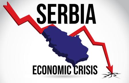 Slovakia Map Financial Crisis Economic Collapse Market Crash Global Meltdown Vector Illustration.