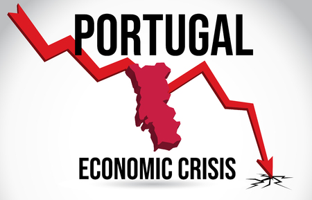 Portugal Map Financial Crisis Economic Collapse Market Crash Global Meltdown Vector Illustration.