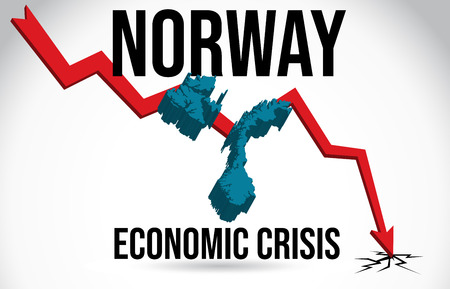 Norway Map Financial Crisis Economic Collapse Market Crash Global Meltdown Vector Illustration. Stock Illustratie