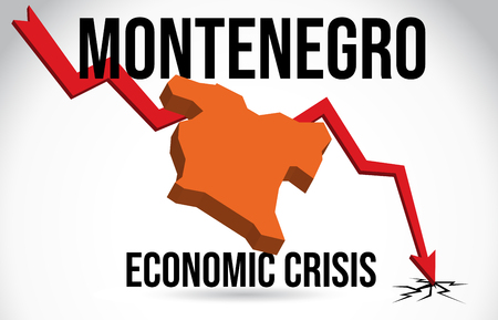 Montenegro Map Financial Crisis Economic Collapse Market Crash Global Meltdown Vector Illustration.