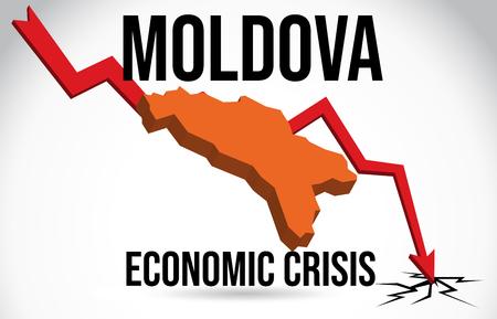 Moldova Map Financial Crisis Economic Collapse Market Crash Global Meltdown Vector Illustration. Illustration