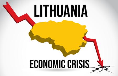 Lithuania Map Financial Crisis Economic Collapse Market Crash Global Meltdown Vector Illustration.
