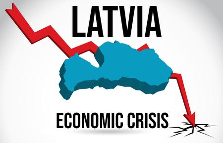 Latvia Map Financial Crisis Economic Collapse Market Crash Global Meltdown Vector Illustration.