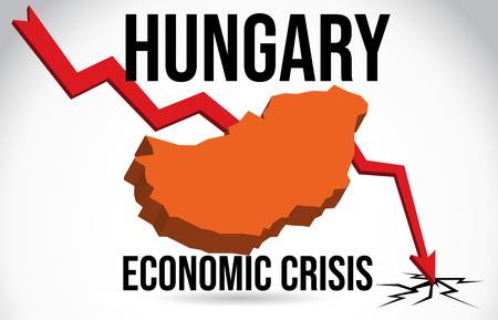 Hungary Map Financial Crisis Economic Collapse Market Crash Global Meltdown Vector Illustration.