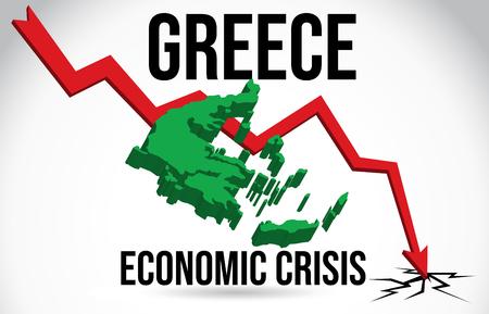 Greece Map Financial Crisis Economic Collapse Market Crash Global Meltdown Vector Illustration.