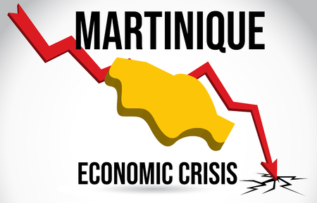 Martinique Map Financial Crisis Economic Collapse Market Crash Global Meltdown Vector Illustration.
