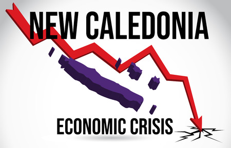 New Caledonia Map Financial Crisis Economic Collapse Market Crash Global Meltdown Vector Illustration. Illustration
