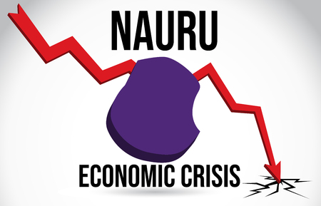 Nauru Map Financial Crisis Economic Collapse Market Crash Global Meltdown Vector Illustration.