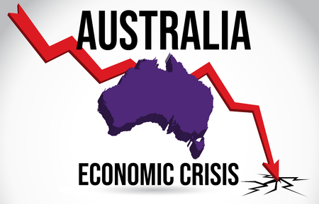Australia Map Financial Crisis Economic Collapse Market Crash Global Meltdown Vector Illustration. Vettoriali